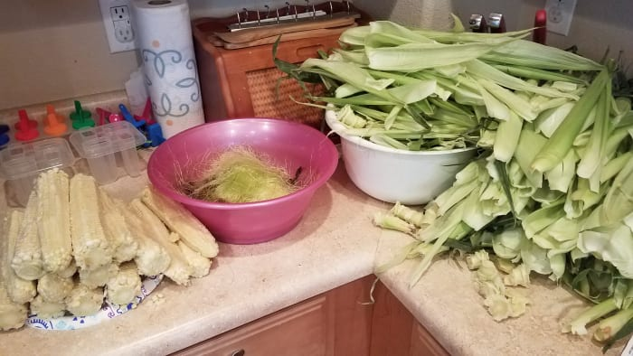 Leftovers from shucking corn