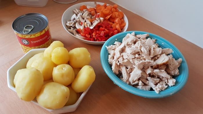 Chicken, potatoes and vegetables ready for the chicken stew.