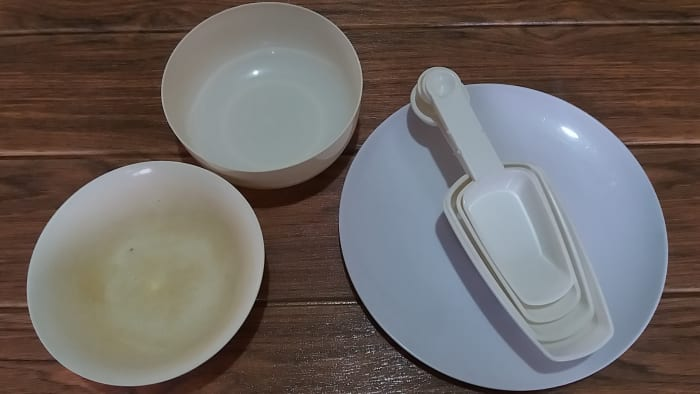 Some of the utensils for preparing the crispy fried breading mix.