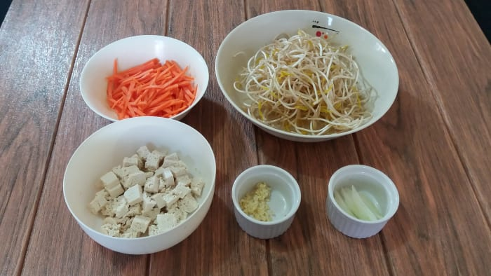 Some of the ingredients for vegetarian lumpiang togue.