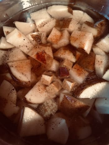 Potatoes and other ingredients in the Instant Pot.