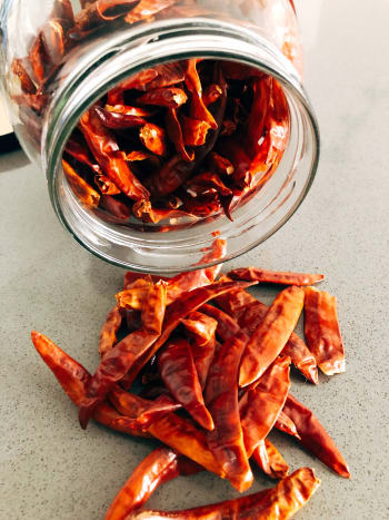 Dried chilies can be bought whole or chopped.