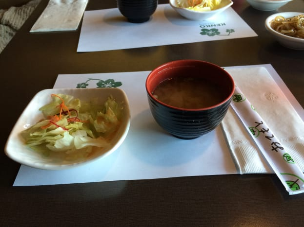 The miso soup and salad