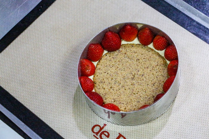 Laying down the strawberries (Step 16).