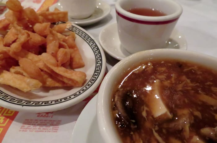 Hot and sour soup with hot tea