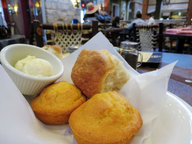Basket of cornbread and biscuits