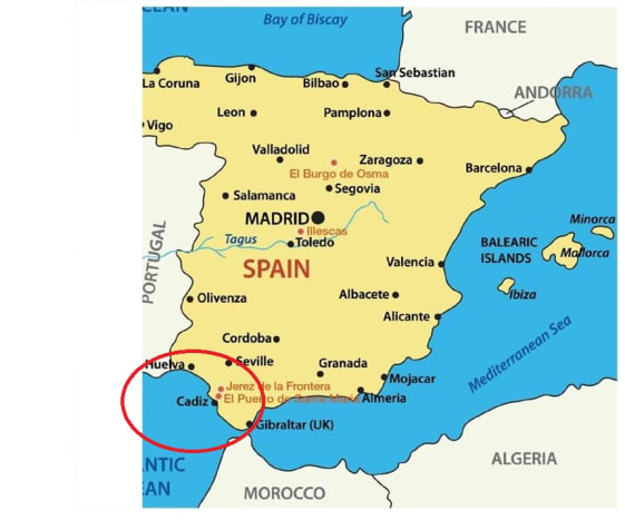 A map of Iberia (Spain), and then we begin to zero in on the triangle