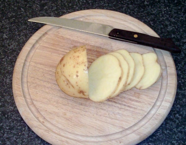 Potato is sliced in to discs