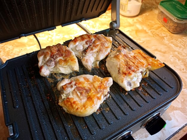 Grilled chicken breasts are very tasty