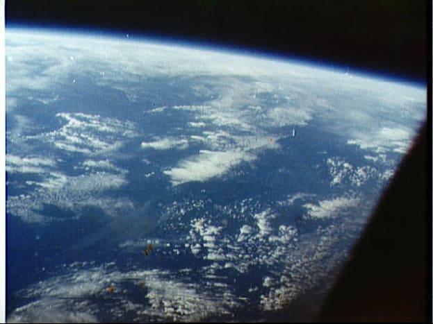 Photo of earth taken by John Glenn from orbit. Photo courtesy of NASA.