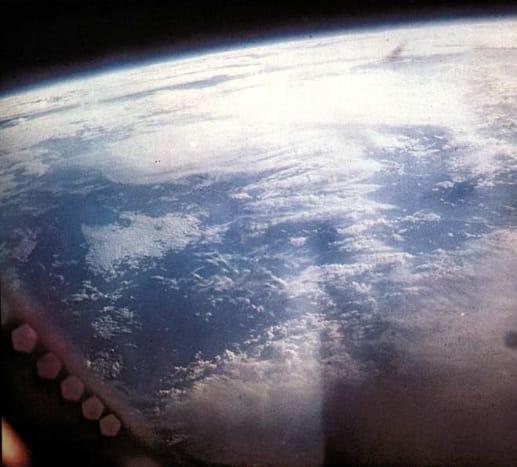 Photo of earth taken by Wally Schirra from orbit. Photo courtesy of NASA.