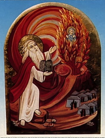 Moses and the Burning Bush. Icon from The Coptic Network: http://www.coptic.net/exhibits/Pictures.html