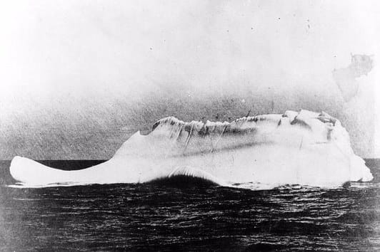 This is a photo of an iceberg found on April 15th, 1912, close to where the Titanic sank.
