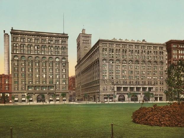 Auditorium Annex (left) and Auditorium Building (right) in a hand-tinted 1900 postcard.