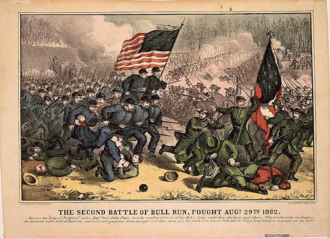 Second Battle of Bull Run, fought Augt. 29th 1862, 1860s lithograph by Currier and Ives.
