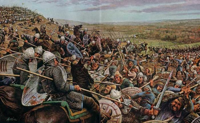 Opening gambit? When the Bretons fell back local fyrdmen chased downhill after them, to be cut off by William's cavalry and killed under the eyes of the others on the hill