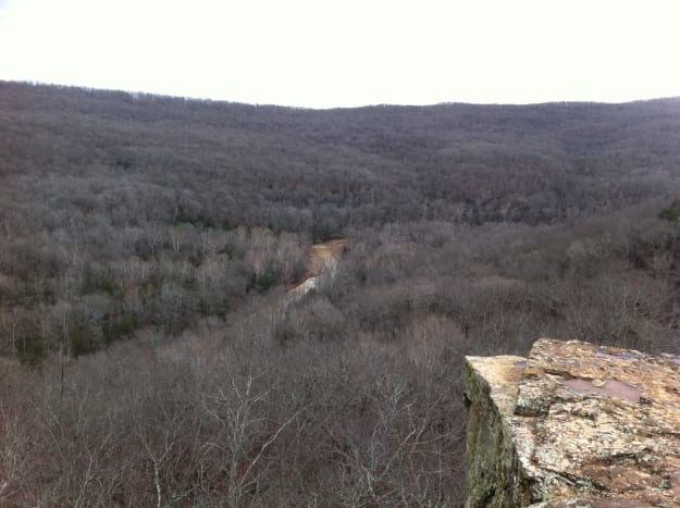 The rugged Boston Mountains where Confederate troops hid .