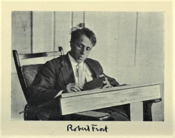 This photo of Robert Frost was taken when he was a young man.