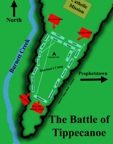 Battle Map of the Battle for Tippecanoe November 6,1811 where Harrison burns Prophetstown.