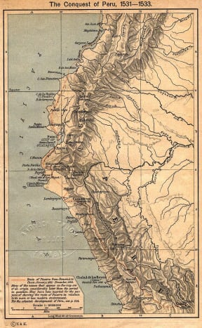 Map of Pizarro's march through the Inca's Empire.