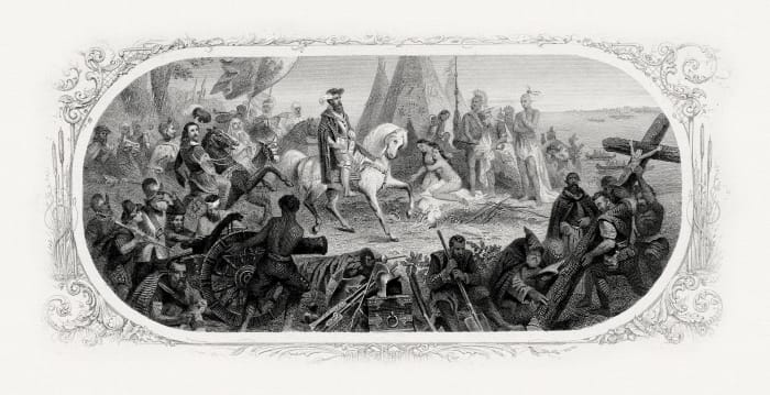 De Soto and his army were the first Europeans to cross the Mississippi river. They were not so well dressed as the painting would display by then they were in deer skins and suffering from a lack of food.