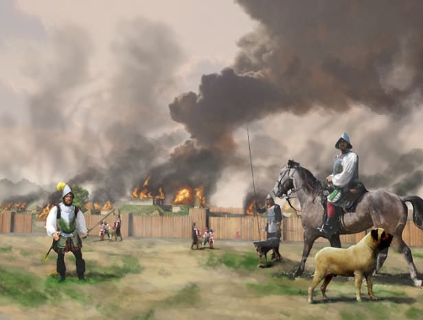 On October 18,1540 De Soto fights his way out of a trap set by Tascalusa at Mabila in what is now western Alabama.