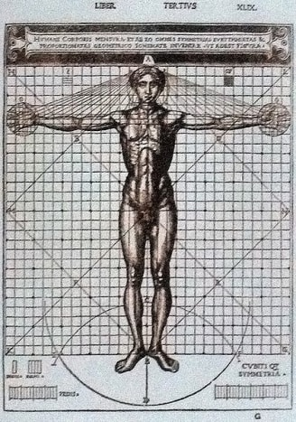 "Vitruvian Manin the revised edition of ""De Architectura"" by Vitruvius illustrated by Cesare Cesariano in 1521."