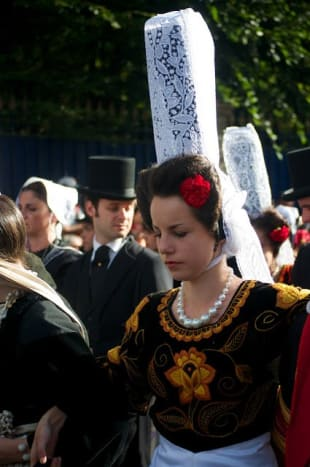 """""""Coiffe of Bigouden,"""" traditional lace cap worn by some Breton women."""