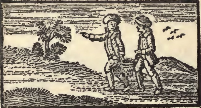 [Image via wikipedia.org] The earliest surviving reprint of John Newbery's Mother Goose's Melodies (originally 1765), showing Jack and Gill as boys.