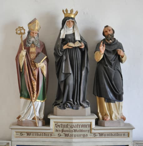 This altar with hand carved statues of the three siblings is from Würtemburg, Germany.
