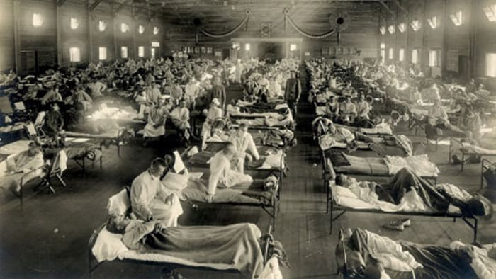 Otis Historical Archives, National Museum of Health and Medicine - Emergency hospital during influenza epidemic, Soldiers from Fort Riley, Kansas, ill with Spanish flu at a hospital ward.