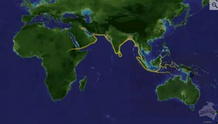 Gold pathways are migration lines. Note the North and South lines at Oceana (from Joseph Birdsell).
