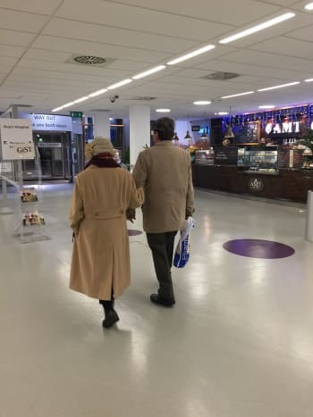 Mum leaving the hospital with dad after her first chemotherapy session in Christmas 2015.