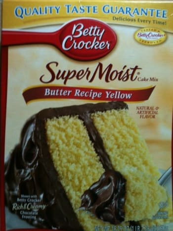The ingredients: any yellow/butter cake mix.