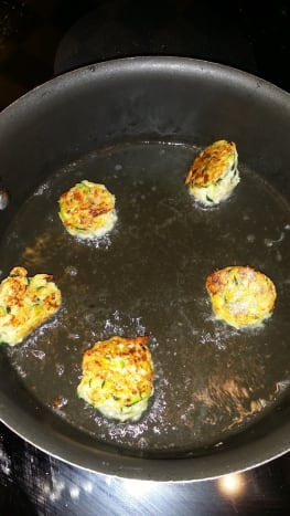 Pan-frying the dots.