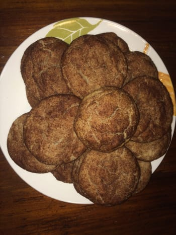 Fresh from the oven, peanut butter snickerdoodle cookies!