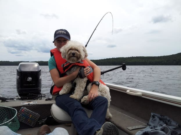Give your dog time to get used to being out on the water before undertaking a long canoe trip. We took Rufus with us out in our fishing boat a couple of times to get him used to the water before introducing him to the canoe.