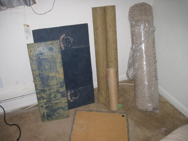 Materials necessary include a sturdy base and four square yards of carpet remnant.