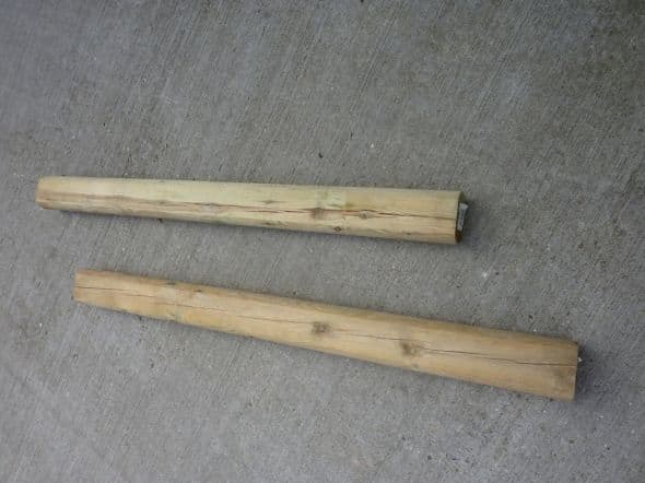 Fence posts with rounded edges run in at about £6 each.