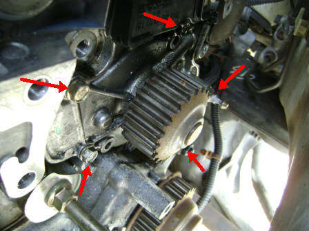 Water pump mounting bolt location.