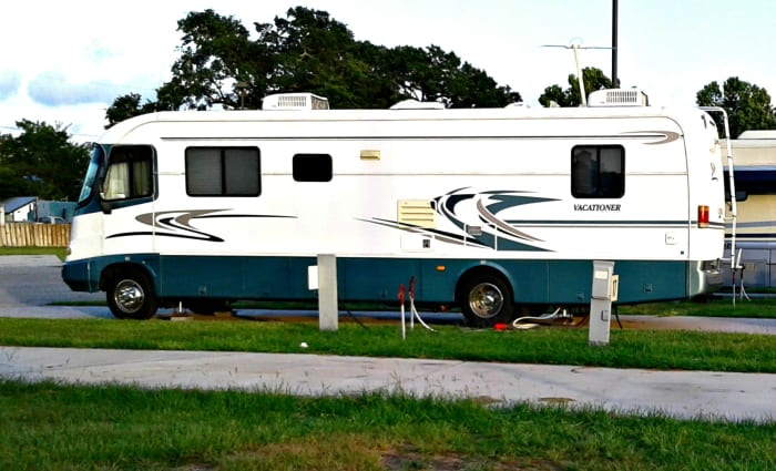 Holiday Rambler Class A Motor home exterior entry view