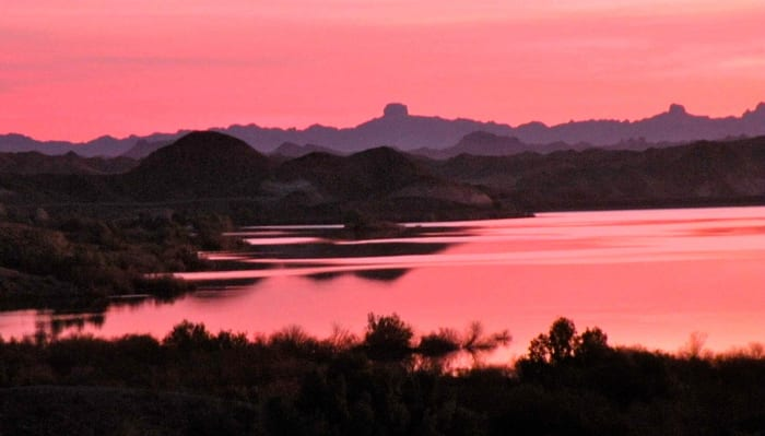 Sunrise view of Senator Reservoir from our campsite. The colors are amazing!