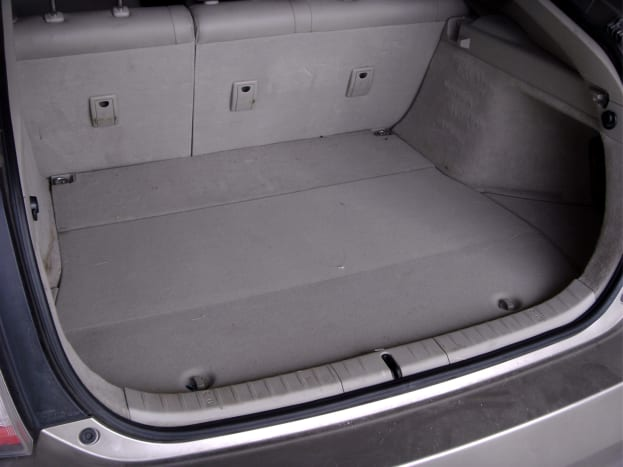 Floor mat has been removed from the trunk
