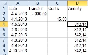 Enter starting data for the calculation of the effective interest rate.