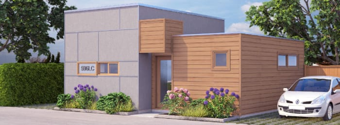 Jenesys Buildings' E Cubes comply with Vancouver BC's laneway house regulations. This LS596 starts at $42,600 for the shell alone, up to $215,400 incl fixtures, appliances and construction.