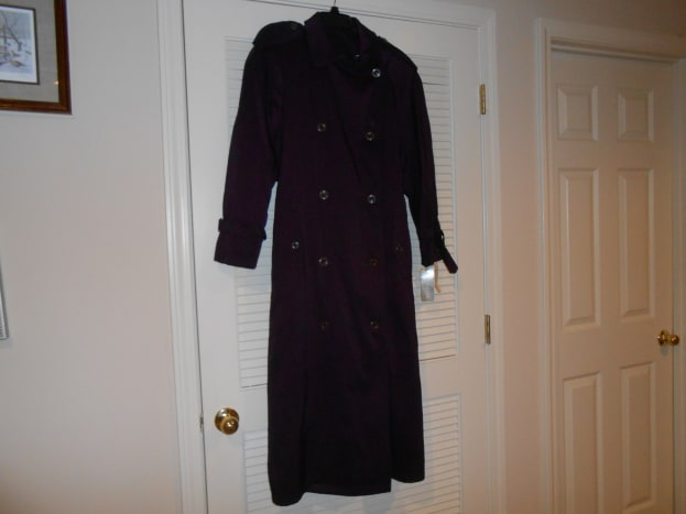 Jones of New York women's purple rain coat. This was at Goodwill, new with original tags still on it, the original price was $179.95. Price at Goodwill was $13.96 and on a discount day I paid $10.48!