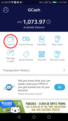 """To initiate this step, tap on the """"Cash In"""" icon encircled in this photo."""