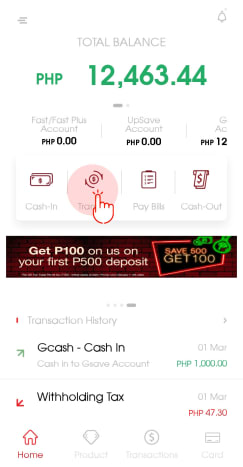 Click 'Transfer' in the CIMB app