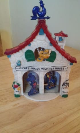 This is a 1950s Disney Mickey Mouse Weather House I found in a box lot at my local auction, along with several others and some random stuff. I paid a dollar for the box and sold just the Weather Wizard collection for around $100.00!