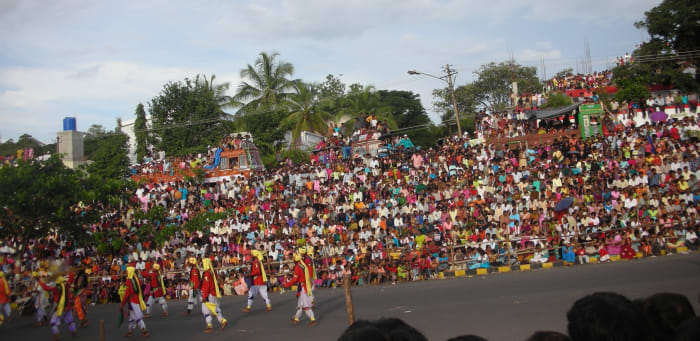 Huge crowds come out to watch the procession for Mysore Dasara.